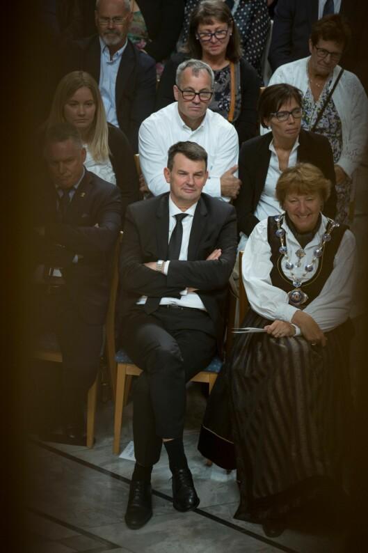 Tor Mikkel Wara under avslutningen for politistudentene i Oslo rådhus 2018.