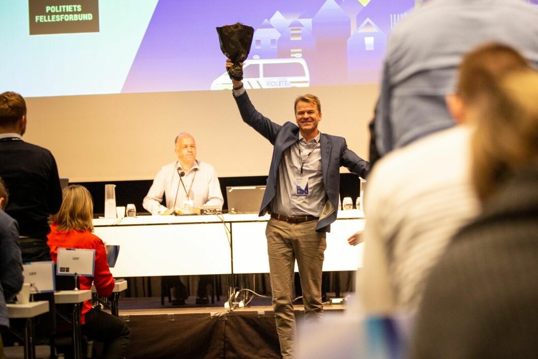 Sigve Bolstad ble enstemmig gjenvalgt som leder av Politiets Fellesforbund (PF) under landsmøtet onsdag.