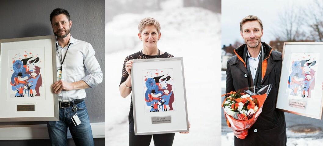 TOPPTRIO: Robin Schaefer, Eva Birkenfeldt Ragde og Asbjørn Rachlew er de tre tidligere vinnerne av Politiforums Ærespris.