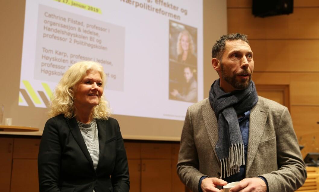 Cathrine Filstad og Tom Karp har sett nærmere på konsekvensene av politireformen. Foto: Politiforum