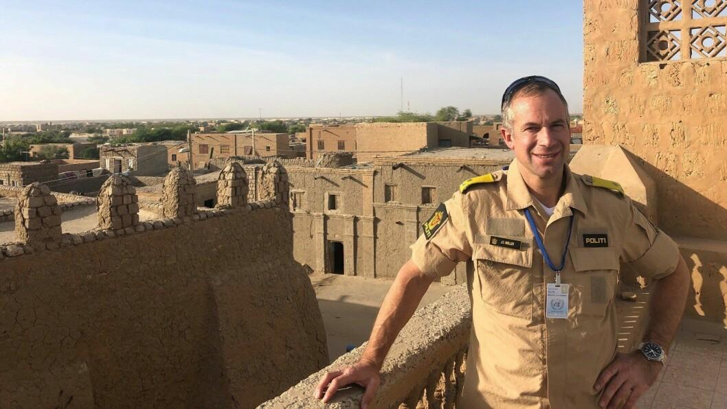 Jon Christian Møller, politiråd FN-delegasjonen i New York. Bildet er tatt i Mali.