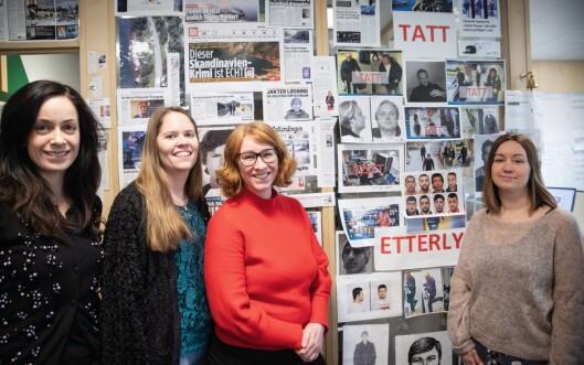 FØRT TIL PÅGRIPELSER: «Åsted Norge»-redaksjonen, her representert ved Ragne Riise, Ina-Kristin Lindin, Lene Dreyer og produksjonsleder Siri Tosterud Ski.