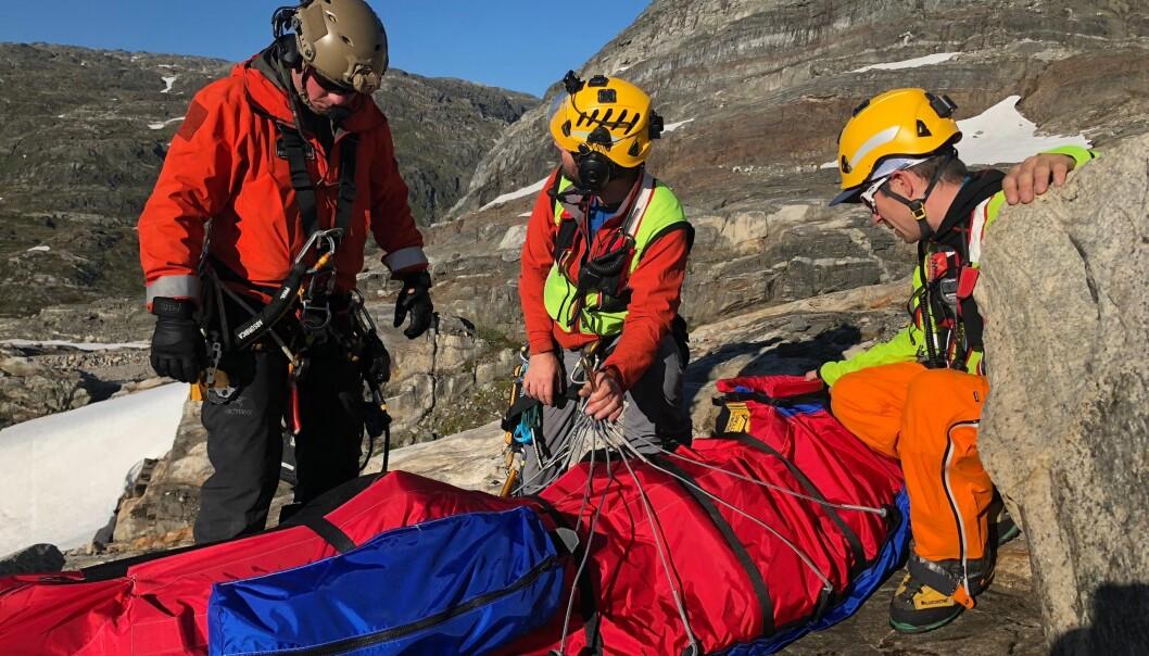 REDNINGSAKSJON: Jurgen Klaus ble reddet opp av bresprekken av Hordaland alpine redningsgruppe.