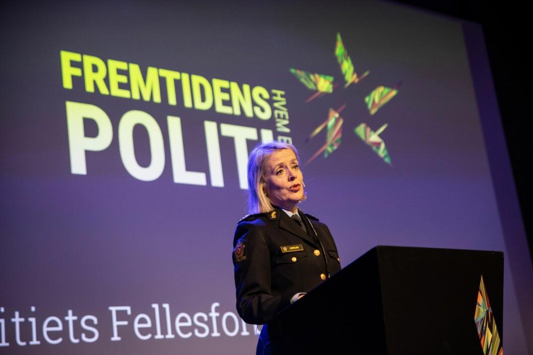 Politidirektør Benedicte Bjørnland under Politiets Fellesforbunds kongress tidligere i år.