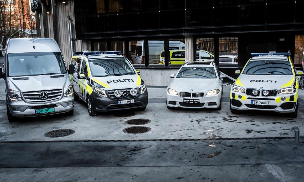 Mercedes-Benz Sprinter, Mercedes-Benz Vito, BMW 525 og BMW X5, er blant de mange bilmodellene i politiet i dag.