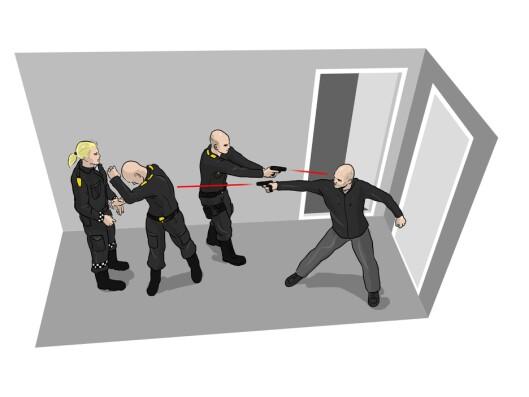 Illustrasjon av hendelsen på Otterstad, da en politimann ble skutt og gjerningsmannen drept.