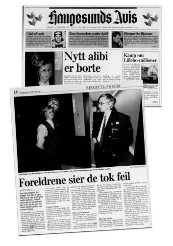 FORSIDESTOFF: Denne saken i Haugesunds avis 13. februar 1997, skapte store problemer for etterforskningen.
