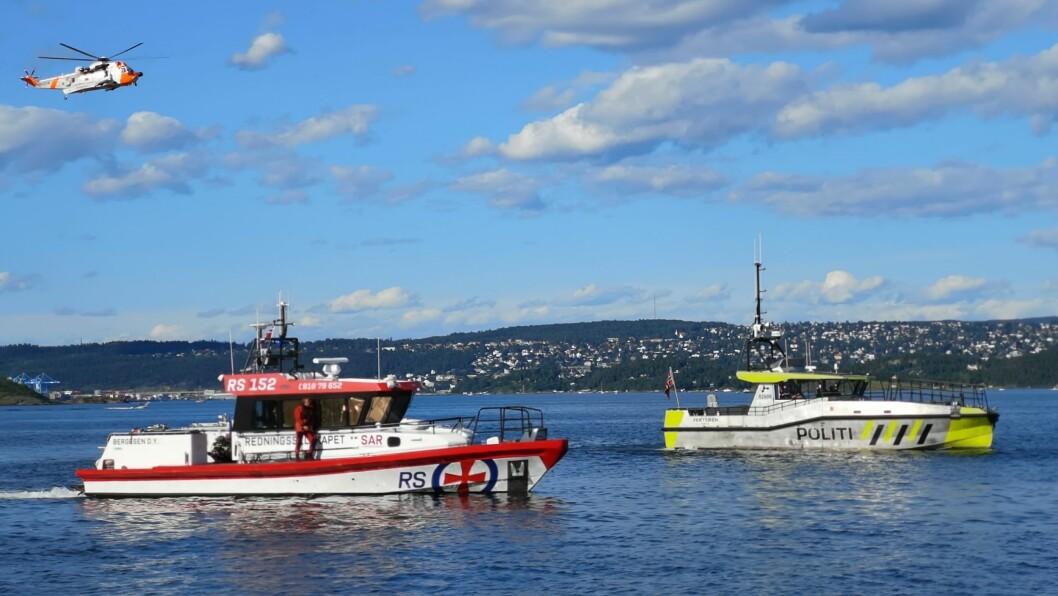 REDNINGSAKSJON: Store ressurser ble sendt ut for å hjelpe en person man trodde var i ferd med å drukne i Bunnefjorden.