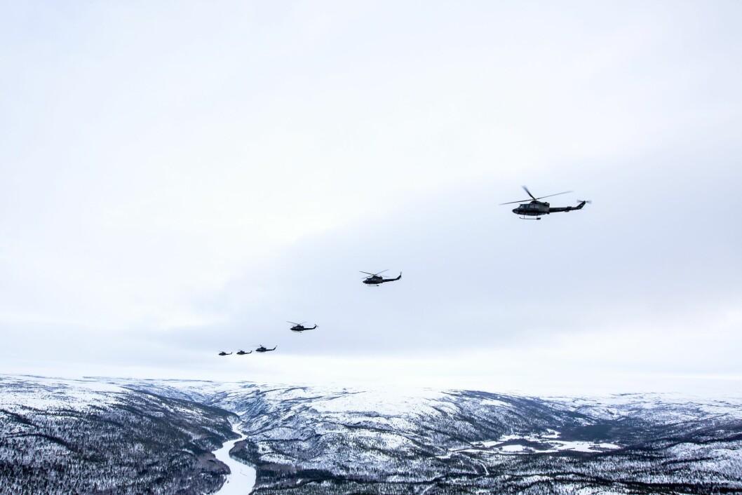 HELIKOPTER: 339-Skvadronen fra Bardufoss trener under vinterøvelsen Joint Viking 2017 i Finnmark.