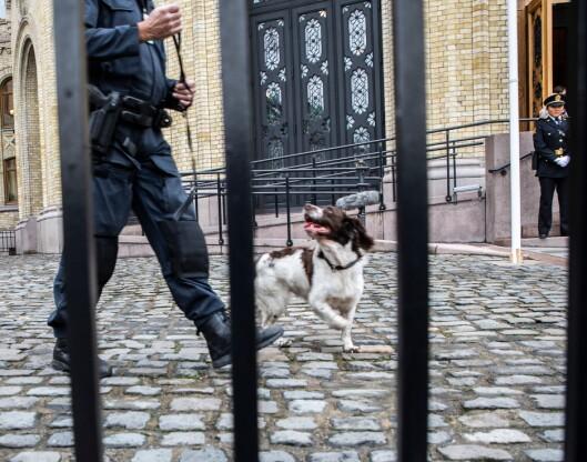 PASSES PÅ: Lars Mortvedt i hundetjenesten forklarer at de er svært nøye med hvor de lufter og trener politihundene.