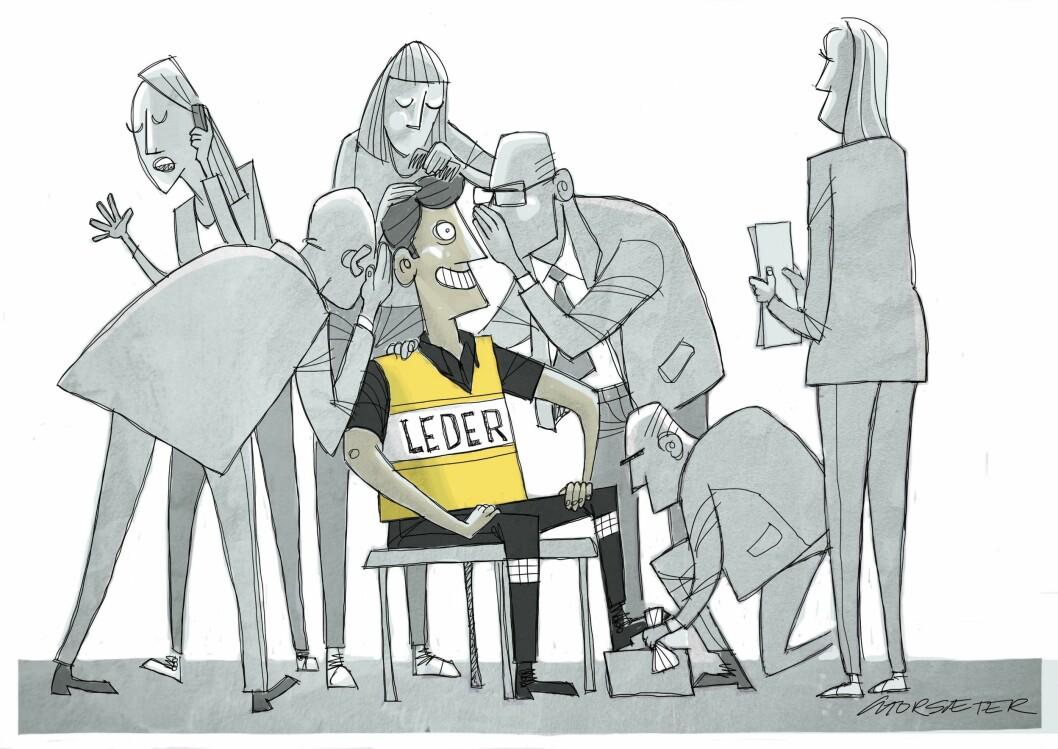 INNPAKKET: De (lederne) har gjort det de har fått beskjed om, og unngått de store tabbene. Det er umulig å si noe feil. Dette har de klart fordi de har blitt pakket inn i et kobbel av kommunikasjonsrådgivere, jurister og kontrollere, skriver artikkelforfatteren.