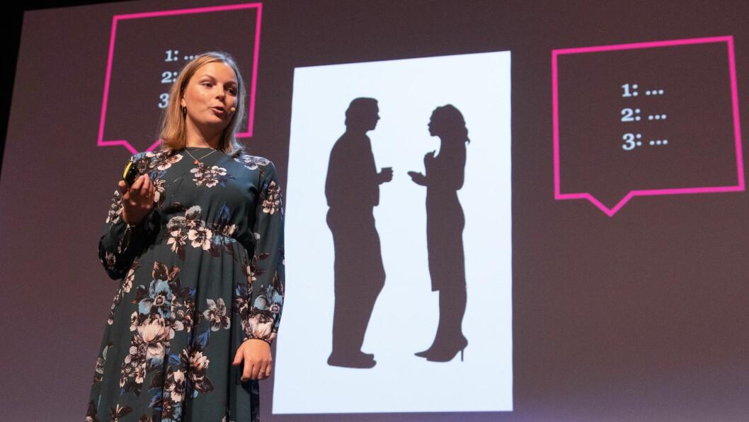 FORSKER PÅ LØGN: Forsker Marthe Lefsaker Sakrisvold ved Politihøgskolen, er en av to delfinalister som gikk videre til finalen i Forsker Grand Prix. Den holdes i Stavanger på lørdag.