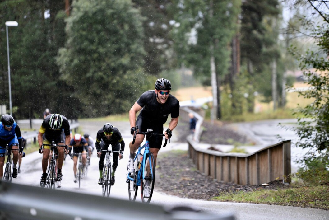 SLUTTSPURT: Thomas Vangbo måtte se tre andre komme i mål før ham, men var best i spurten om fjerdeplassen i landeveisrittet.