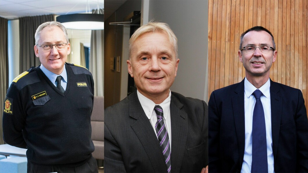 Tidligere politidirektør Odd Reidar Humlegård, tidligere justisminister Knut Storberget (Ap) og leder for Domstolsadministrasjonen Sven Marius Urke.