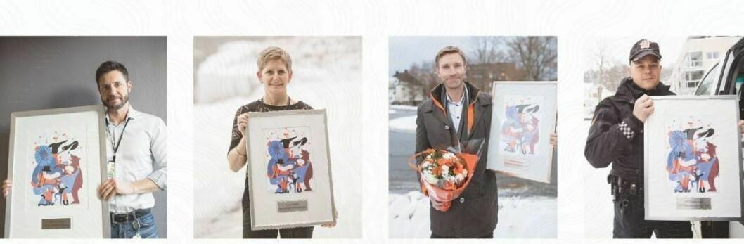 FIRKLØVER: Robin Schaefer, Eva Birkenfeldt Ragde, Asbjørn Rachlew og Espen Molland er tidligere vinnere av Politiforums Ærespris.