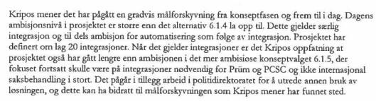 Utdrag fra det interne Kripos-notatet, hvor fagfolk i Kripos advarte mot PODs prosjektstyring. Trykk på bildet for å forstørre.