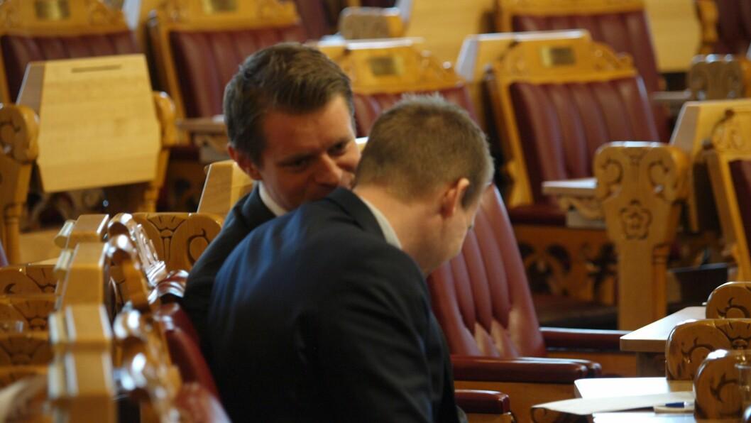 Peter Frølich og Kjell Ingolf Ropstad, her avbildet sammen på Stortinget i 2018, er potensielle nye justisministre.