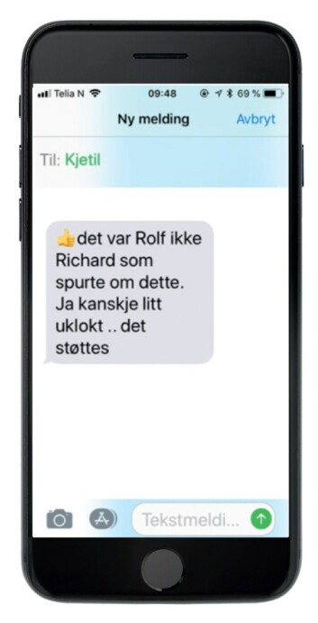 BEKREFTELSEN: I en SMS-utveksling med Vestbakken den 1. juni 2017, bekreftet Kjetil Hansen at det ble stilt spørsmål om den tidligere konflikten på økoteamet under jobbintervjuet til Hege Halvorsen.
