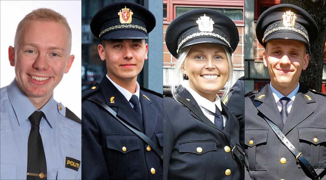 KLARE: Jon Andreas Carson, Kim Eirik Nygaard, Vetle Haugland og Thea Flaatten er blant mange politiutdannede som i dag står uten politijobb, og som er klare til å gå inn i en jobb i politiet i disse dager.
