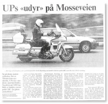 GATAS SKREKK: I et oppslag i Aftenposten frontet Rynning politiets nye «supersykkel», en 1400 kubikks Suzuki som for 33 år siden hadde en anseelig prislapp på 170.000 kroner. Rynning har tilbragt mange mil i trafikksikkerhetens tjeneste.