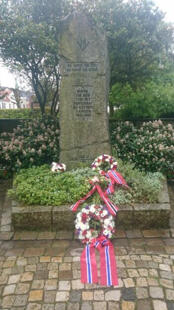 Minnestøtten i Veiten i Bergen, til minne om dem som ble torturert av Gestapo under krigen. Bildet er tatt 8. mai i år.