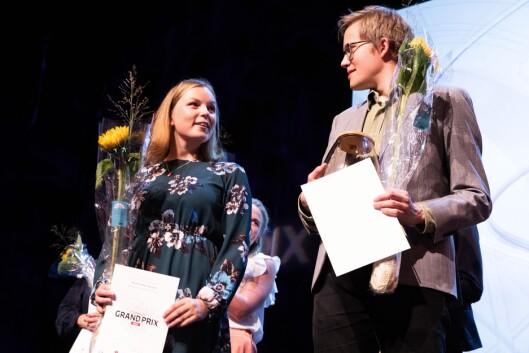 GIKK VIDERE: Halvor Høen Hval, fra Kjemisk institutt ved Universitetet i Oslo, fikk førsteplass under delfinalen i Oslo. Forsker Marthe Lefsaker Sakrisvold fra Politihøgskolen, kom på andreplass.