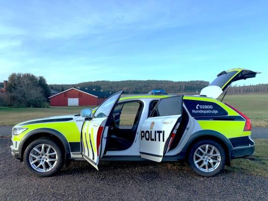 HUNDEPATRULJE: Volvo V90CC har vært i bruk som hundebil i politiet i flere år. Slik ser den ut - og slik vil sannsynligvis også patruljebilen av samme merke se ut når de er klar til leveranse i 2021.