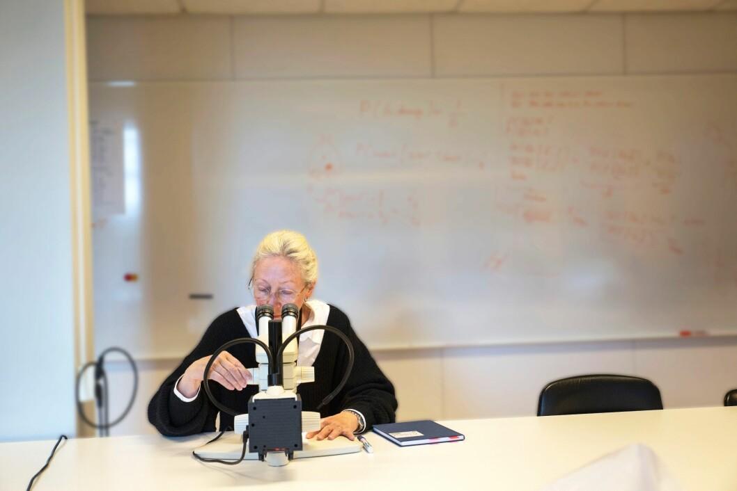 SKIFTGRANSKER: Gunhild Isager gransker teksten, for å finne ut hvem som egentlig har skrevet den.
