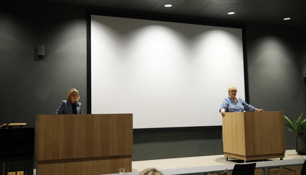 Justisminister Monica Mæland og statsminister Erna Solberg legger fram politimeldingen.