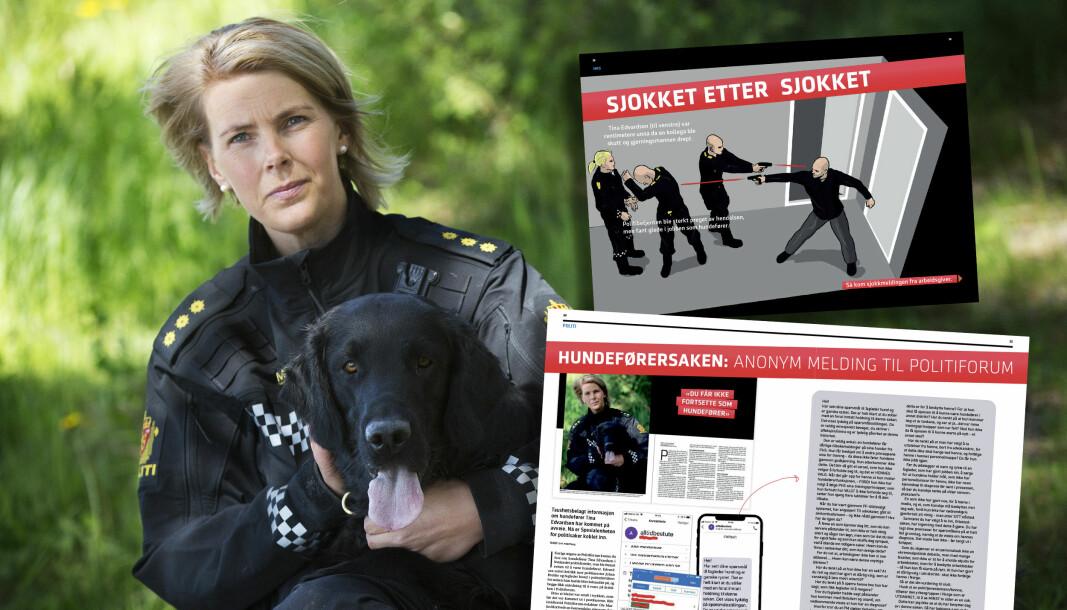 TO SAKER: I juni i fjor kunne Politiforum fortelle at Tina Edvardsen var centimetere unna da kollegaen ble skutt og gjerningsmannen drept. Hun ble sterkt preget, men fant glede i jobben som hundefører. Så kom sjokkmeldingen: «Du får ikke fortsette som hundefører». juli i fjor fikk Politiforum en anonym melding, som inneholdt taushetsbelagt informasjon om hundeføreren. Innholdet viste at taushetsbelagt informasjon var kommet på avveie. Spesialenheten for politisaker ble koblet inn.
