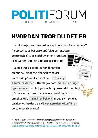 Varslingssaken på Hamar var hovedsak i Politiforum nummer 2 i år.