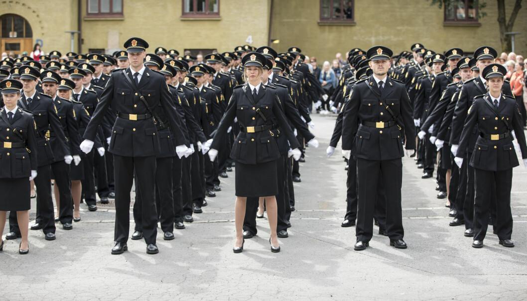 Bildet er tatt under avslutningsseremonien ved Politihøgskolen i Oslo i 2018.