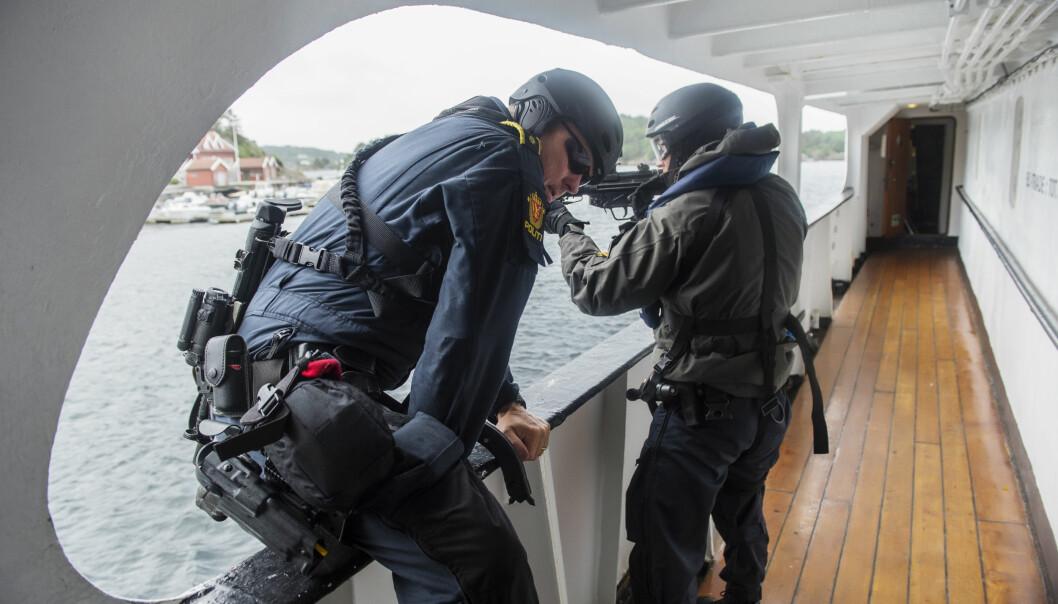 Bildet er tatt i forbindelse med UEH-trening i Agder politidistrikt.