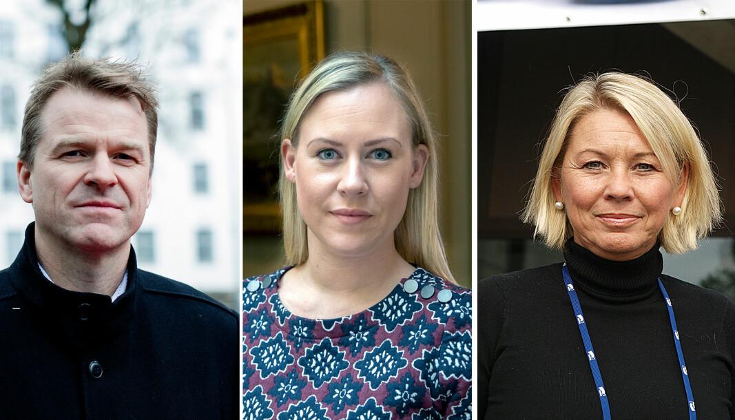 Sigve Bolstad, leder i Politiets Fellesforbund, Lene Vågslid (Ap), leder av STortingets justiskommite, og justisminister Monica Mæland (H).