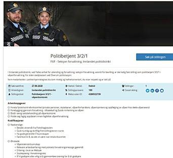 MÅ HA IP4-GODKJENNING: Innlandet politidistrikt søker etter ny politibetjent til Elverum politistasjon, som skal jobbe med våpenforvaltning.