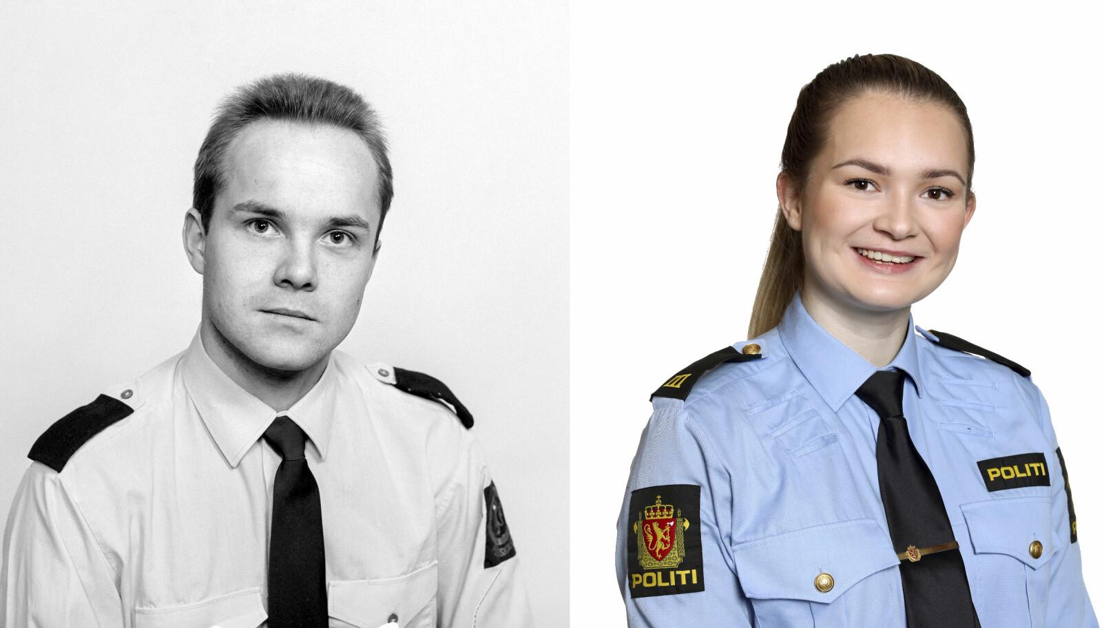 FAR OG DATTER: Politistudent Tore Johan Vinnes i 1991 og politistudent Veline Vinnes i 2020.