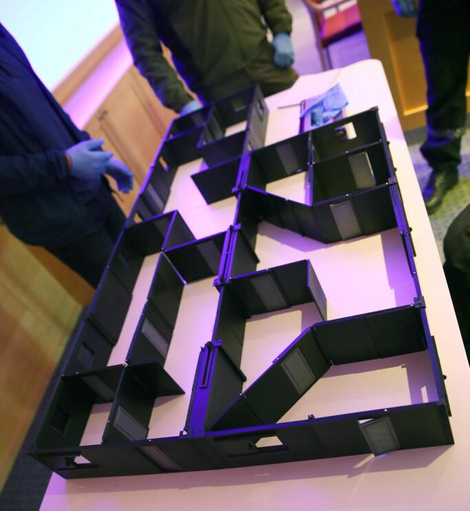 Denne modellen viser hvordan veggene kan flyttes i utallige ulike planløsninger.