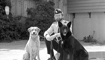 SPESIELL HUNDEMANN: Bombehunden Ben, Ernst og patruljehunden Qvanto på 80-tallet. Det vites ikke at noen polititjenestemann på samme tid har hatt stilling til både en godkjent bombehund og en godkjent tjenestehund, andre enn Ernst K. Rossebø.