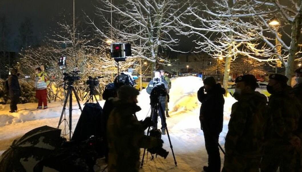 ORIENTERTE MEDIA: Politiet holdt flere pressebrifer daglig for å informere om status i kvikkleirskredet.