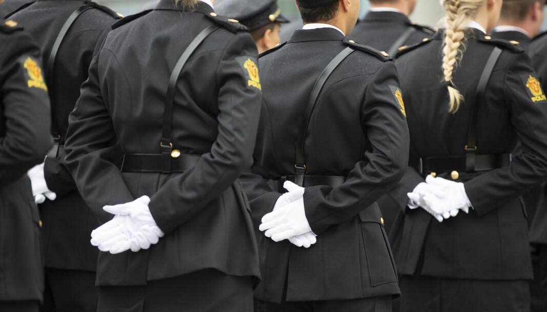 Bildet er tatt under uteksamineringen fra Politihøgskolen i Stavern i 2019.