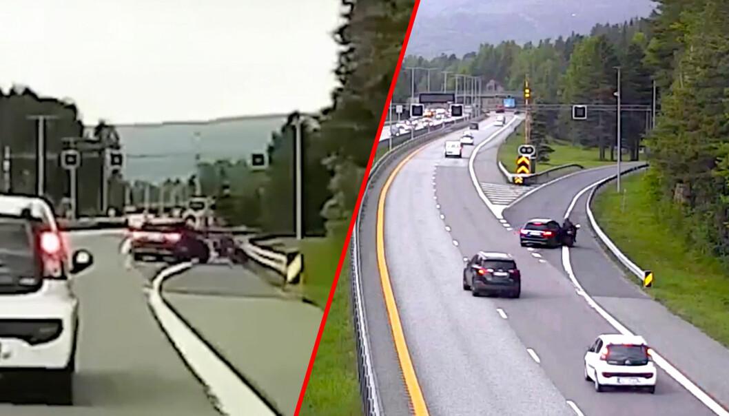 De to videoene er filmet av dashboardkameraet til en tilfeldig forbipasserende bil (venstre) og fra Vegvesenets trafikkovervåkningskamera (høyre).