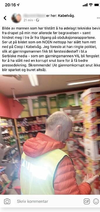 «SKRYTEBILDET»: Kort tid etter overfallet la gjerningsmannen ut dette bildet av Terje Pedersen på sin Facebook-profil.