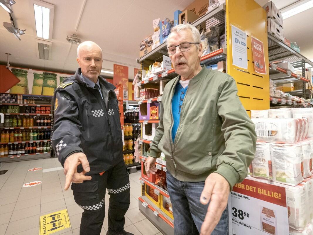 REDNINGSMANNEN: Her er Terje Pedersen og hans redningsmann Arne Danielsen tilbake igjen på åstedet