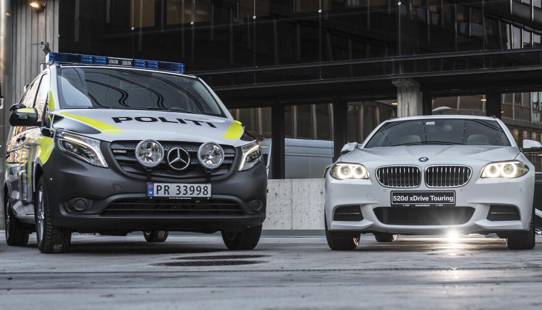Mercedes Benz Vito og BMW 520 var politibilene i segmentene stor og liten patruljebil under den forrige bilavtalen fra 2016-2020. Før dette var VW Passat liten patruljebil, mens Volvo V90CC tok over i den nye bilavtalen gjeldende fra 2021. Vito har var på sin side politiets foretrukne store patruljebil også tidligere - og i den nye bilavtalen.
