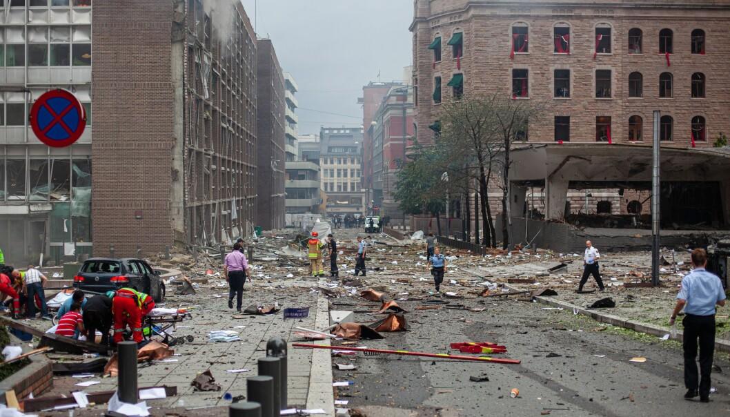 Grubbegata ved Regjeringskvartalet kort tid etter at bomben gikk av 22. juli 2011.