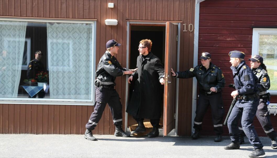 Politistudenter under en øvelse i B2-leir i Stavern.