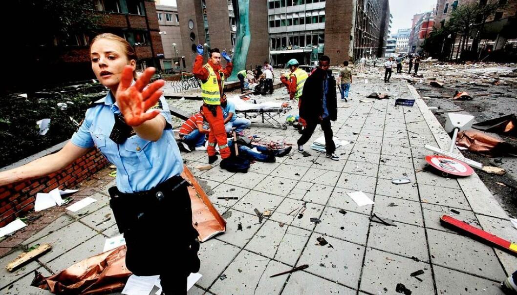 Bildet viser regjeringskvartalet etter at bomben gikk av 22. juli 2011.