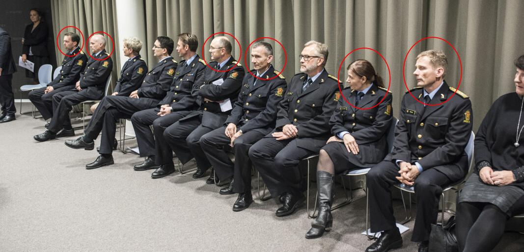 <strong>STOLLEKEN:</strong> Slik så det ut da de 12 nye politimestrene ble presentert 27. november 2015. Flere av dem har senere gått av som politimestre, men seks av dem sitter fortsatt - og har nå søkt om et nytt åremål på ytterligere seks år.