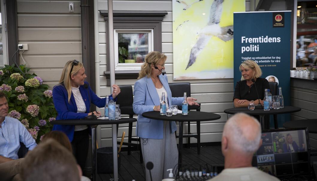 Lene Vågslid, justispolitisk talsperson for Arbeiderpartiet, i debatt med justisminister Monica Mæland (H), under Arendalsuka.
