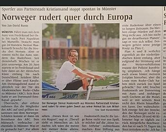 Den tyske avisen Westfälische Nachrichten, og flere andre europeiske aviser, skrev om Steinars rotur nedover mot Port Napoléon.